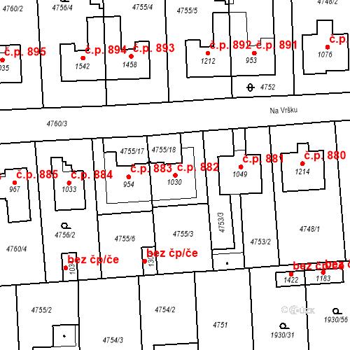 Katastrální mapa Stavební objekt Hrušovany nad Jevišovkou 882, Hrušovany nad Jevišovkou