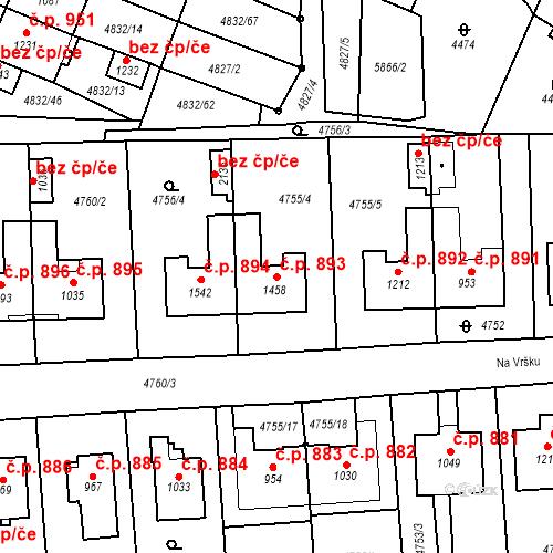 Katastrální mapa Stavební objekt Hrušovany nad Jevišovkou 893, Hrušovany nad Jevišovkou