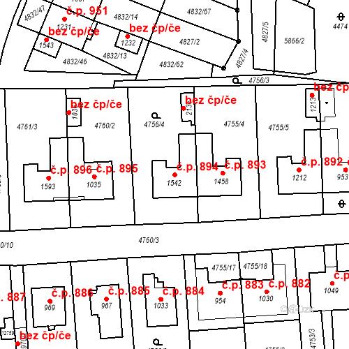 Katastrální mapa Stavební objekt Hrušovany nad Jevišovkou 894, Hrušovany nad Jevišovkou