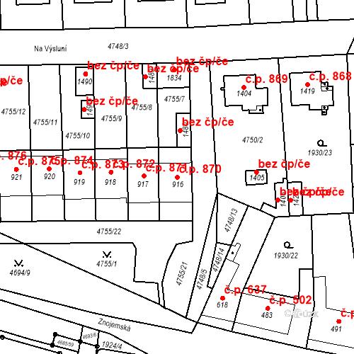 Katastrální mapa Stavební objekt Hrušovany nad Jevišovkou 870, Hrušovany nad Jevišovkou