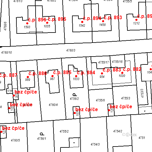 Katastrální mapa Stavební objekt Hrušovany nad Jevišovkou 884, Hrušovany nad Jevišovkou