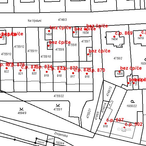 Katastrální mapa Stavební objekt Hrušovany nad Jevišovkou 871, Hrušovany nad Jevišovkou