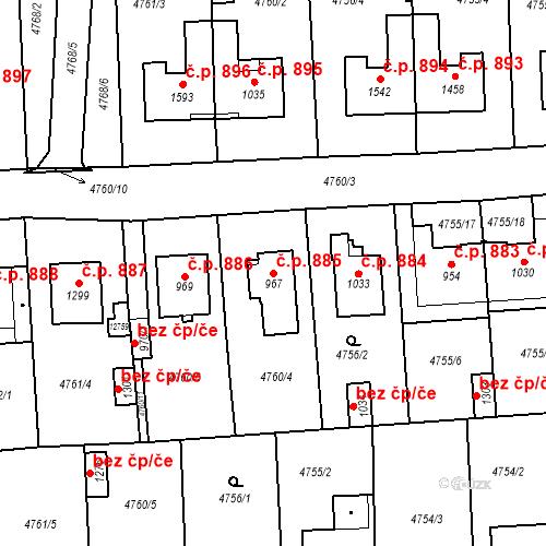 Katastrální mapa Stavební objekt Hrušovany nad Jevišovkou 885, Hrušovany nad Jevišovkou