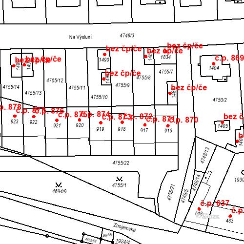 Katastrální mapa Stavební objekt Hrušovany nad Jevišovkou 872, Hrušovany nad Jevišovkou