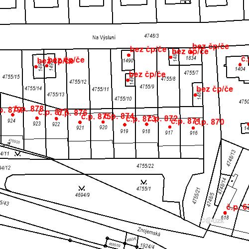 Katastrální mapa Stavební objekt Hrušovany nad Jevišovkou 873, Hrušovany nad Jevišovkou