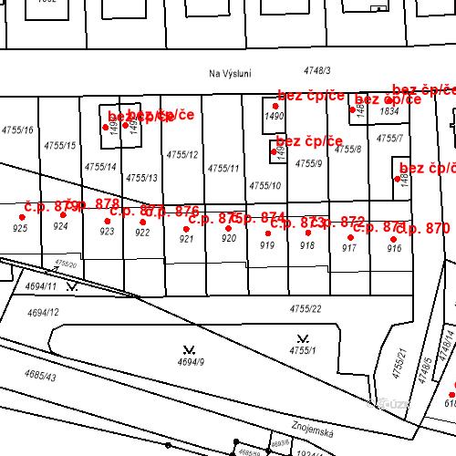 Katastrální mapa Stavební objekt Hrušovany nad Jevišovkou 874, Hrušovany nad Jevišovkou