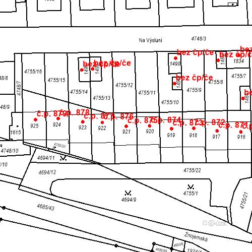 Katastrální mapa Stavební objekt Hrušovany nad Jevišovkou 875, Hrušovany nad Jevišovkou