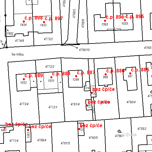 Katastrální mapa Stavební objekt Hrušovany nad Jevišovkou 887, Hrušovany nad Jevišovkou