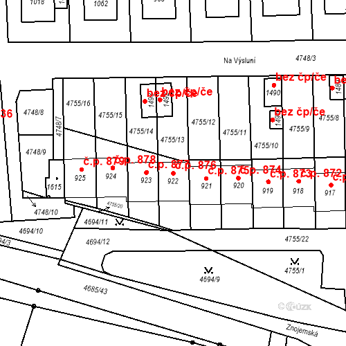 Katastrální mapa Stavební objekt Hrušovany nad Jevišovkou 876, Hrušovany nad Jevišovkou