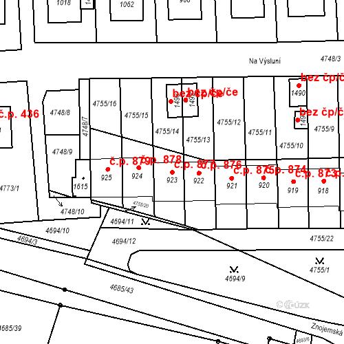Katastrální mapa Stavební objekt Hrušovany nad Jevišovkou 877, Hrušovany nad Jevišovkou