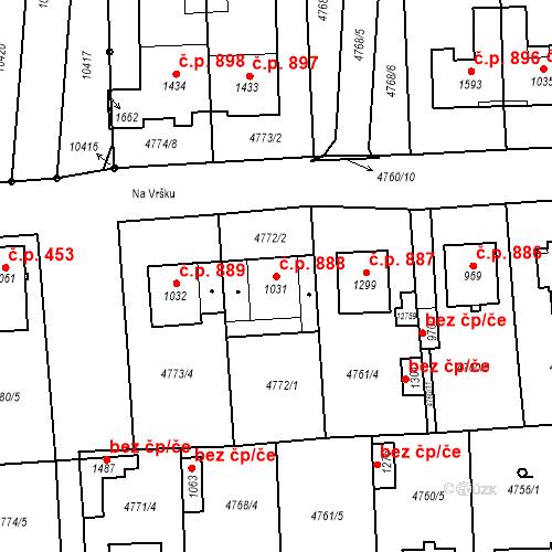 Katastrální mapa Stavební objekt Hrušovany nad Jevišovkou 888, Hrušovany nad Jevišovkou