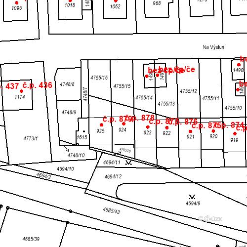 Katastrální mapa Stavební objekt Hrušovany nad Jevišovkou 878, Hrušovany nad Jevišovkou