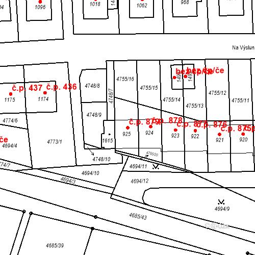 Katastrální mapa Stavební objekt Hrušovany nad Jevišovkou 879, Hrušovany nad Jevišovkou