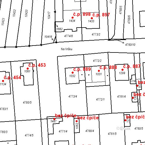 Katastrální mapa Stavební objekt Hrušovany nad Jevišovkou 889, Hrušovany nad Jevišovkou