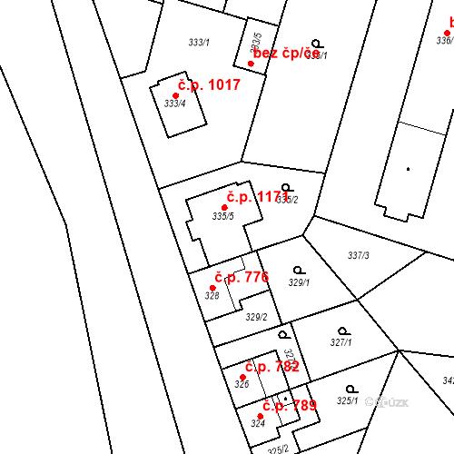 Katastrální mapa Stavební objekt Oslavany 1171, Oslavany