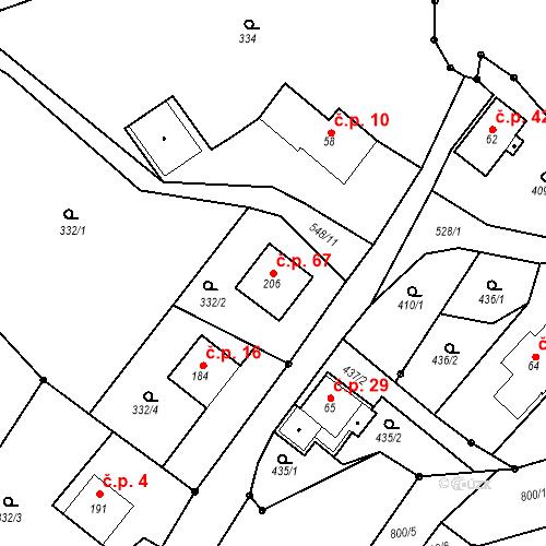 Katastrální mapa Stavební objekt Strážkovice 67, Malé Svatoňovice