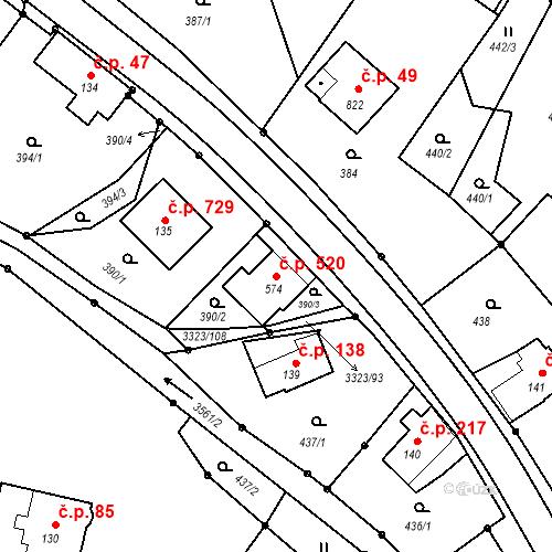 Katastrální mapa Stavební objekt Rtyně v Podkrkonoší 520, Rtyně v Podkrkonoší