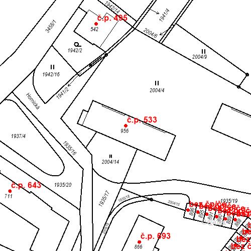 Katastrální mapa Stavební objekt Rtyně v Podkrkonoší 533, Rtyně v Podkrkonoší