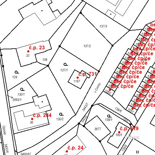 Katastrální mapa Stavební objekt Rtyně v Podkrkonoší 731, Rtyně v Podkrkonoší