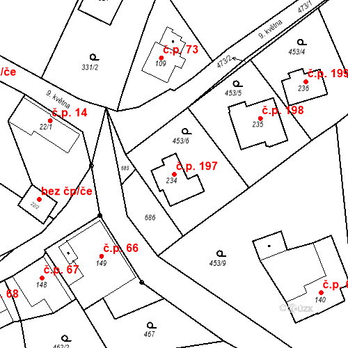 Katastrální mapa Stavební objekt Malé Svatoňovice 197, Malé Svatoňovice