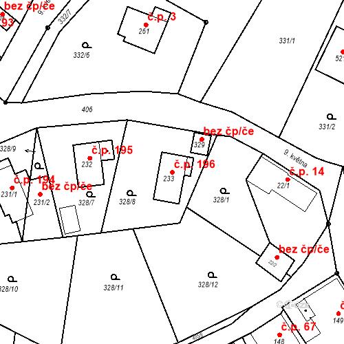 Katastrální mapa Stavební objekt Malé Svatoňovice 196, Malé Svatoňovice