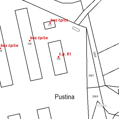 Katastrální mapa Stavební objekt Zlíč 81, Česká Skalice