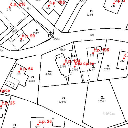 Katastrální mapa Stavební objekt Malé Svatoňovice 194, Malé Svatoňovice