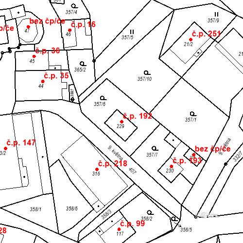 Katastrální mapa Stavební objekt Malé Svatoňovice 192, Malé Svatoňovice