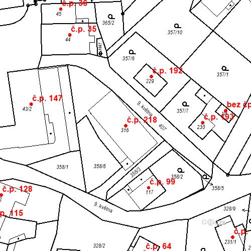 Katastrální mapa Stavební objekt Malé Svatoňovice 218, Malé Svatoňovice