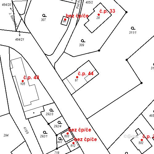 Katastrální mapa Stavební objekt Malé Svatoňovice 44, Malé Svatoňovice