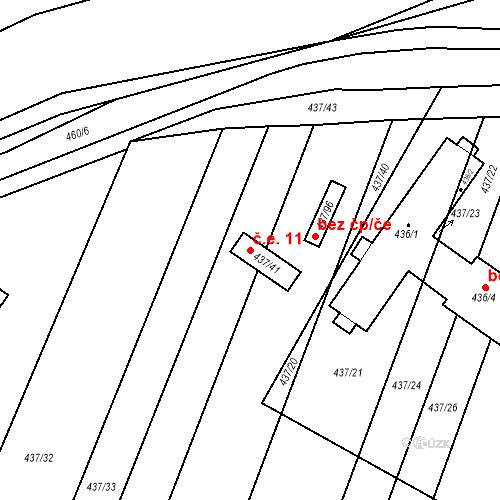 Katastrální mapa Stavební objekt Hrubšice 11, Ivančice