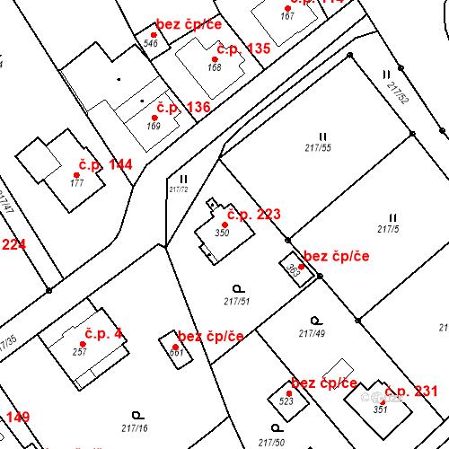 Katastrální mapa Stavební objekt Malé Svatoňovice 223, Malé Svatoňovice