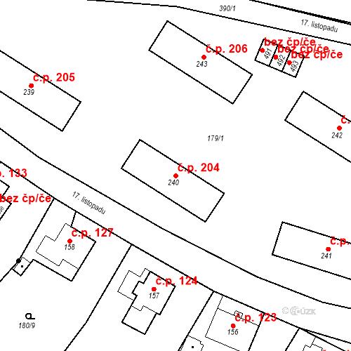Katastrální mapa Stavební objekt Malé Svatoňovice 204, Malé Svatoňovice