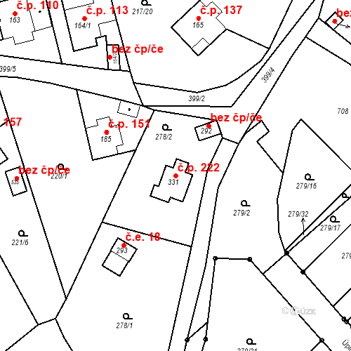 Katastrální mapa Stavební objekt Malé Svatoňovice 222, Malé Svatoňovice