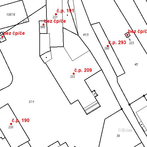 Katastrální mapa Stavební objekt Malé Svatoňovice 209, Malé Svatoňovice