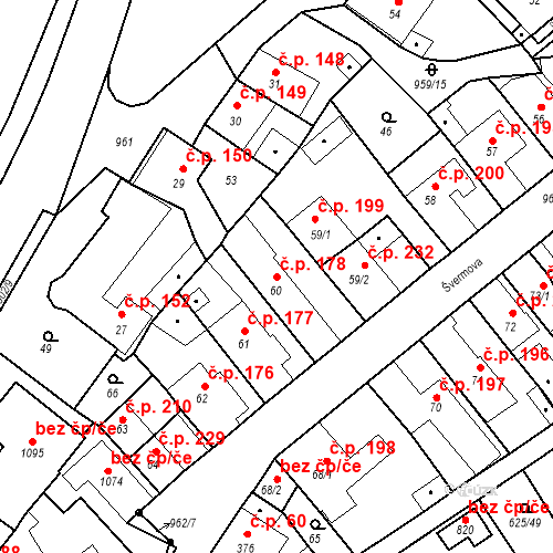 Katastrální mapa Stavební objekt Borohrádek 178, Borohrádek