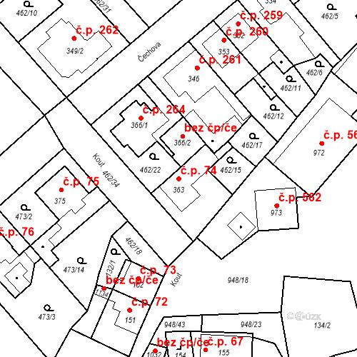 Katastrální mapa Stavební objekt Borohrádek 74, Borohrádek