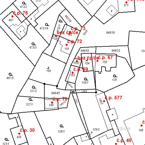 Katastrální mapa Stavební objekt Borohrádek 69, Borohrádek