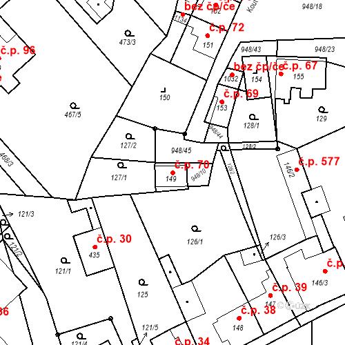 Katastrální mapa Stavební objekt Borohrádek 70, Borohrádek