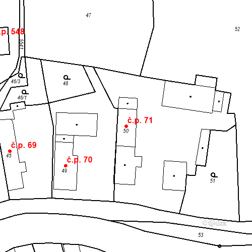 Katastrální mapa Stavební objekt České Meziříčí 71, České Meziříčí