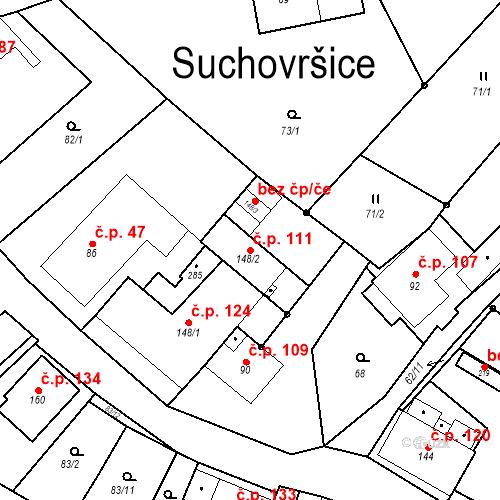 Katastrální mapa Stavební objekt Suchovršice 111, Suchovršice
