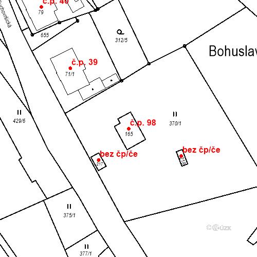 Katastrální mapa Stavební objekt Bohuslavice 98, Trutnov
