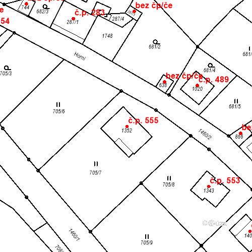Katastrální mapa Stavební objekt Poříčí 555, Trutnov