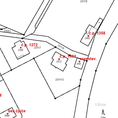 Katastrální mapa Stavební objekt Třebechovice pod Orebem 1402, Třebechovice pod Orebem