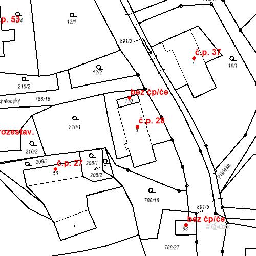 Katastrální mapa Stavební objekt Studenec 28, Trutnov