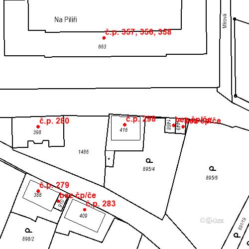 Katastrální mapa Stavební objekt Žacléř 298, Žacléř