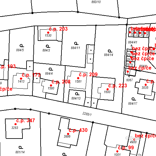 Katastrální mapa Stavební objekt Kryblice 209, Trutnov