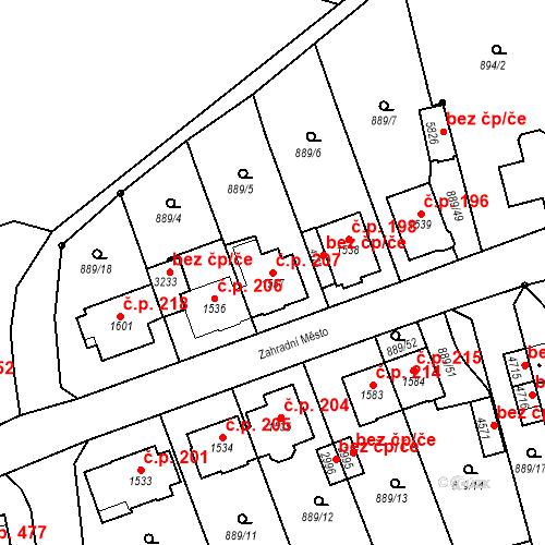 Katastrální mapa Stavební objekt Kryblice 207, Trutnov