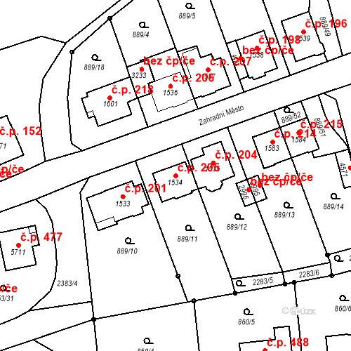 Katastrální mapa Stavební objekt Kryblice 205, Trutnov