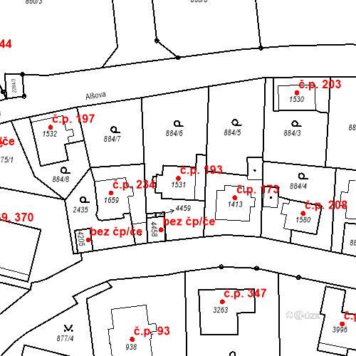 Katastrální mapa Stavební objekt Kryblice 193, Trutnov